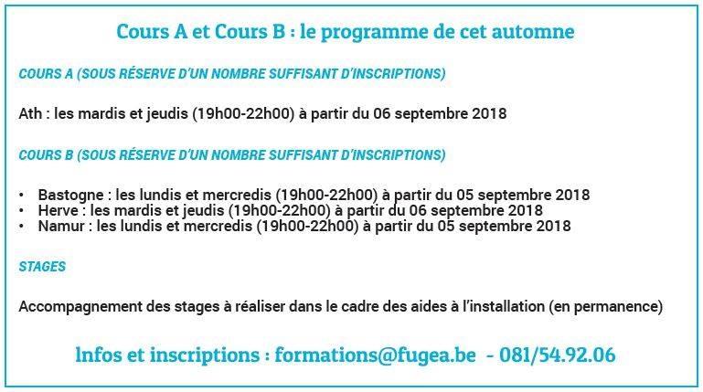 Les inscriptions pour les modules de Cours A et B de la Fugea sont ouvertes!