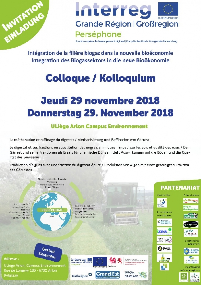 Colloque Perséphone (projet Interreg) sur le thème du biogaz / Konferenz Perséphone (Interreg-Projekt) zum Thema Biogas