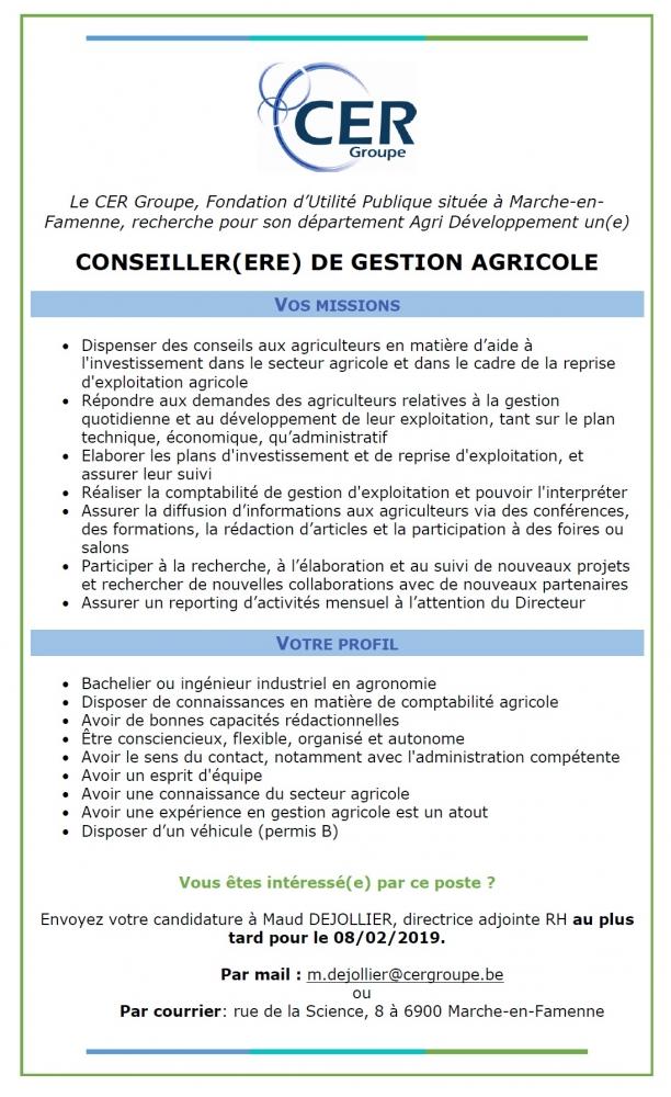 Le CER Groupe recherche activement un(e) Conseiller(-ère) agricole pour sa BU Agri-développement.