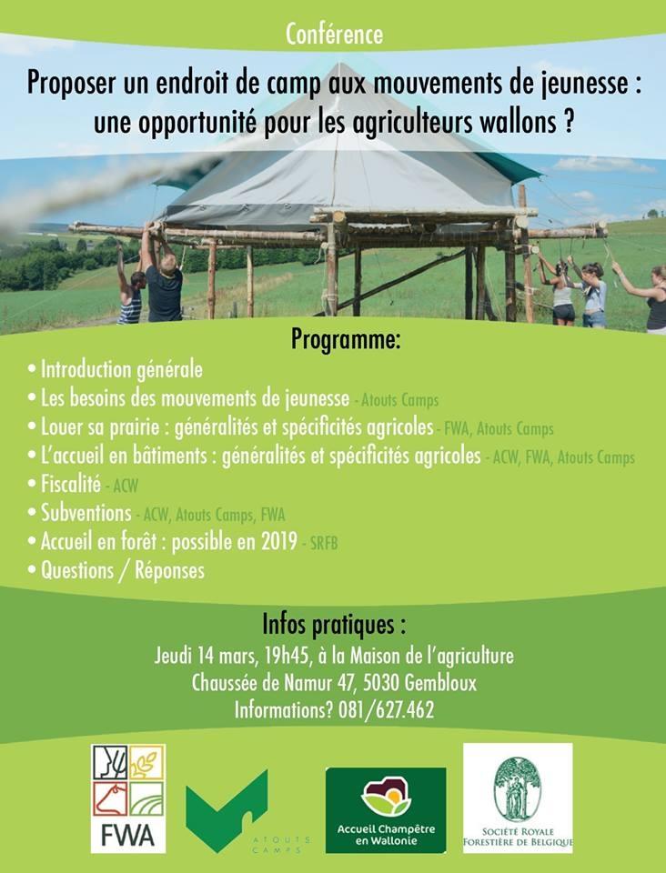 Proposer un endroit de camp aux mouvements de jeunesse : une opportunité pour les agriculteurs wallons ?