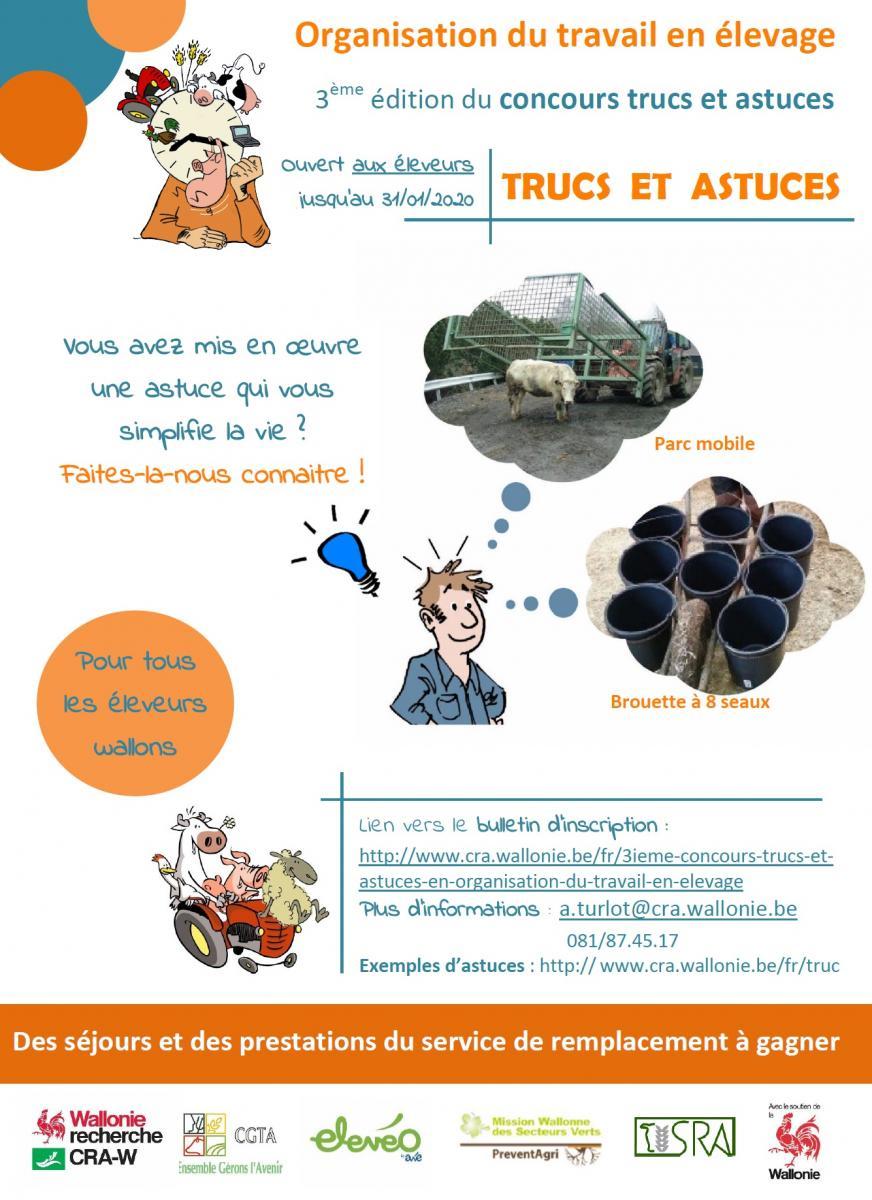 Organisation du travail en élevage. 3ème édition du concours TRUCS ET ASTUCES