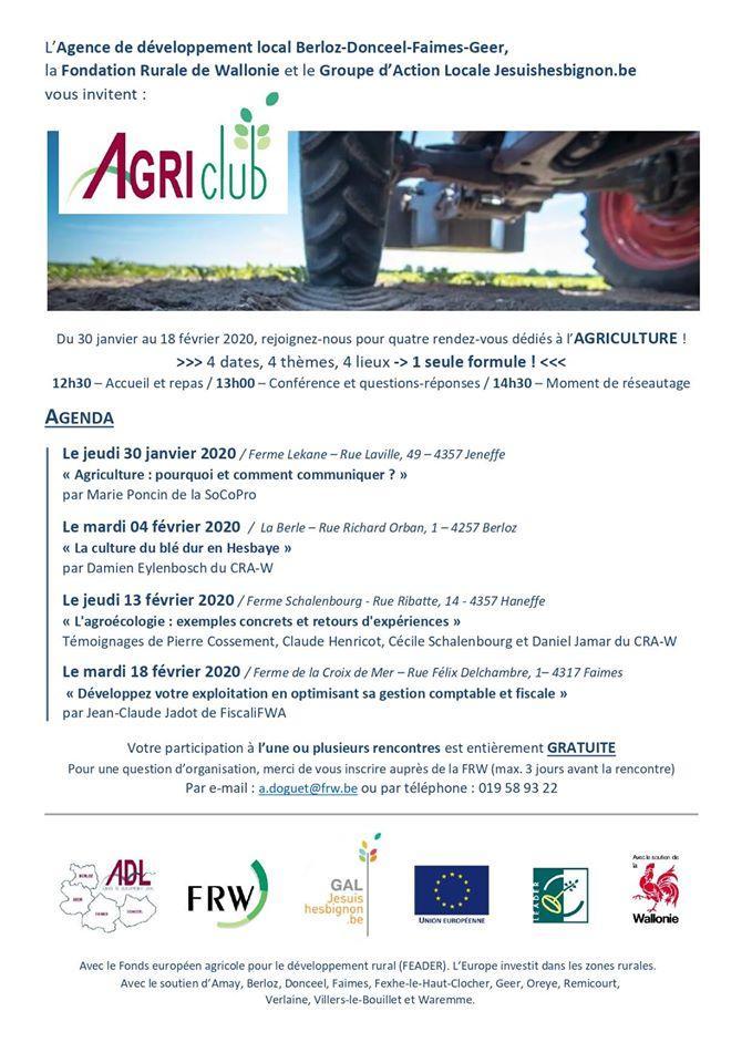 Quatre AgriClubs du 30 janvier au 18 février 2020