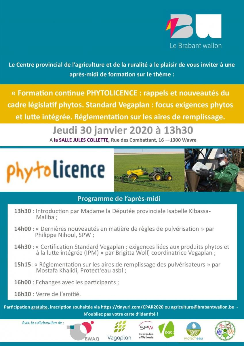 Formation PHYTOLICENCE le 30 janvier à Wavre