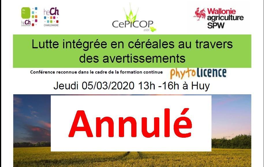 La formation PHYTOLICENCE du jeudi 5 mars à Huy (HE Charlemagne, ISIa) est ANNULEE.