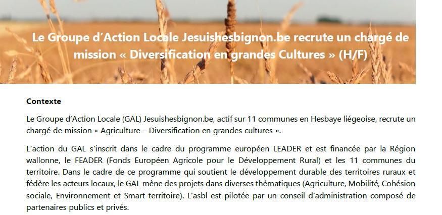 Le Groupe d'Action Locale Jesuishesbignon.be recrute un chargé de mission « Diversification en grandes cultures » (H/F)
