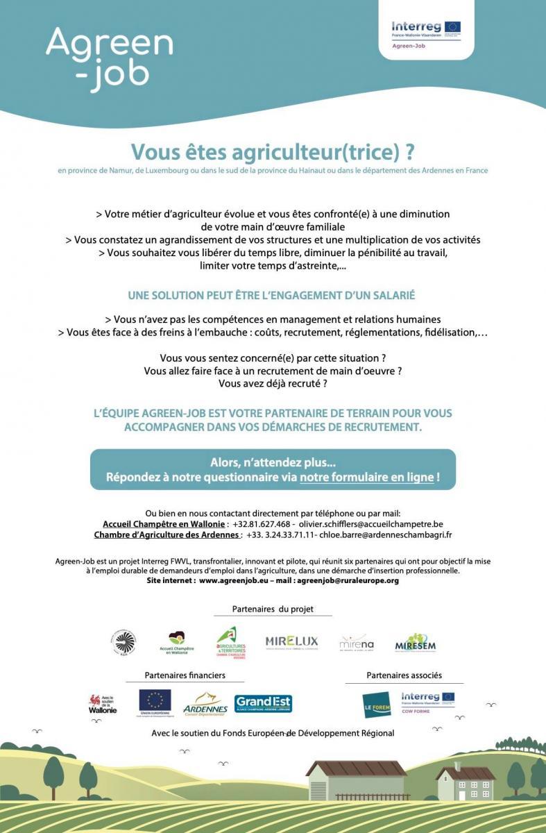 Questionnaire sur les besoins des agriculteurs en terme de main d\'oeuvre
