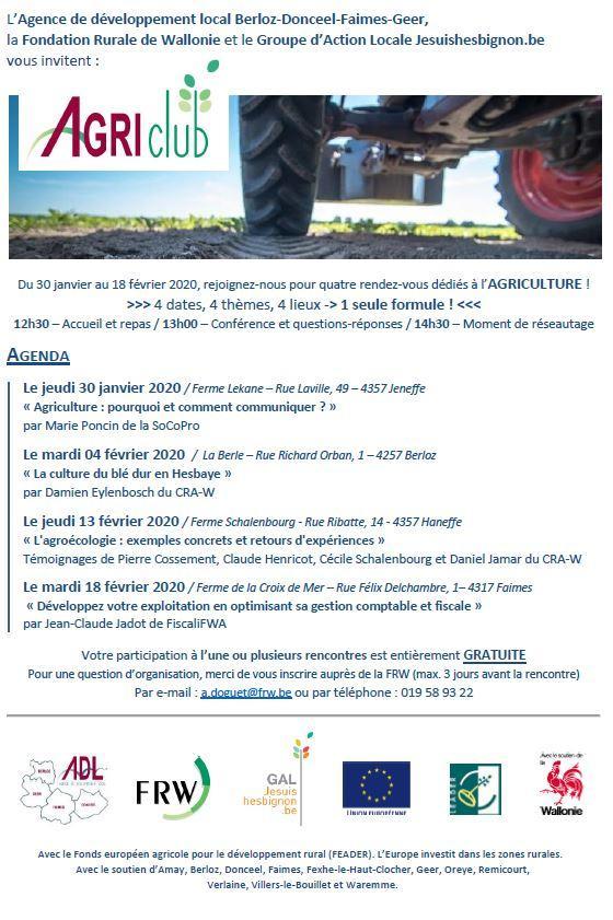 Conférences AgriClub en Hesbaye liegeoise