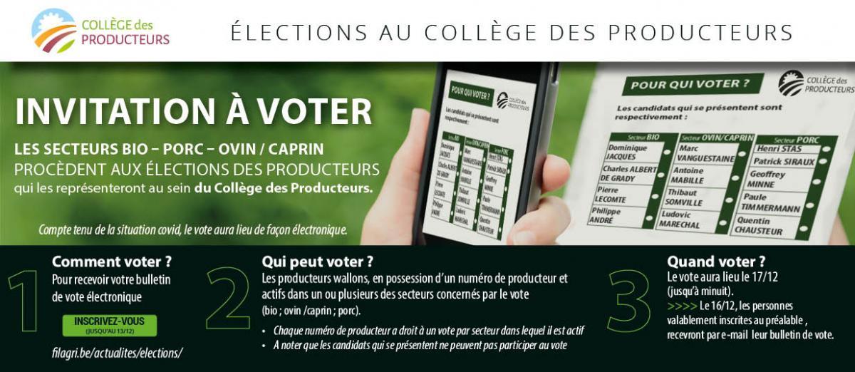[Elections au Collège des Producteurs] Invitation à voter pour les secteurs bio, porc et ovin-caprin